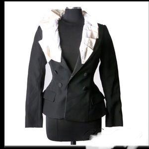 Louis Vuitton Black Wool Blazer White ruffle trims